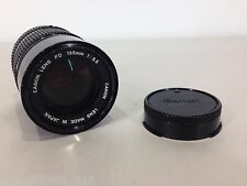 Vintage CANON FD 135mm f3.5 Manual Focus Telephoto SLR Camera Lens w/ HOOD Retro