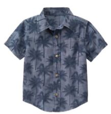 Gymboree Outdoor Explorer Boys Button Up Shirt Xs 4 Palm Trees Nwt