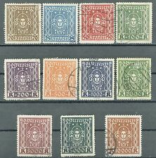 Austria Issues of 1922 Complete Set of 11 Used Stamps Scott's 288 to 298