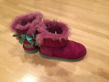 EUC girls uggs purple Bailey bow size 11