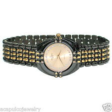 Jacques Edho Paris Quartz Unisex 2Tone Black Tone & Gold Plated w/ Crystal Watch