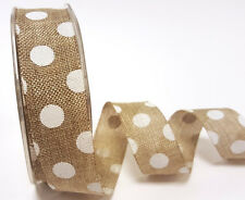 5m 25mm Natural Polka Dot Faux Burlap Ribbon by Bertie's Bows Easter Wrap Gift