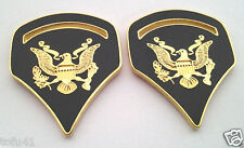 1 PAIR (2) ARMY RANK SPC-5 GREEN Military Veteran Collar / Hat Pins 14533 HO
