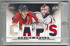 2012-13 Panini Prime Dual ALEX OVECHKIN & BRADEN HOLTBY GAME USED Patches 10/10