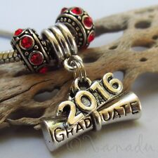 Graduation Diploma 2016 European Charm Pendant And Large Hole Birthstone Beads