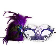 Royal Purple & Silver Peacock Masquerade Mask w/ Feathers for Women