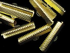 12 x Gold Plated Ribbon End Clasps 30mm x 6mm C64