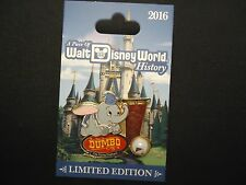 DISNEY WDW A PIECE OF DISNEY HISTORY 2016 DUMBO THE FLYING ELEPHANT PIN ON CARD