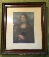 "Antique 14"" x 12"" Picture Frame w Floral Inlet Design & Pict. of The Mona Lisa"