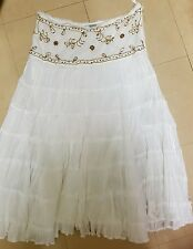 New Look white tiered skirt embroidered beaded waist band size 12