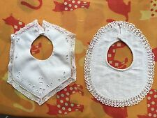 3 Antique Baby Bibs Lace Hand  Embroidery