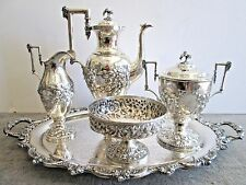 Early S. KIRK & SON 11 OZ. Coin Silver Repousse Coffee Set + Tray
