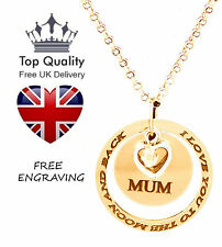 Ring Disc Heart Pendant Personalised Engraved Name Necklace Gold Plated Gift UK