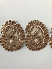 ATTRACTIVE INDIAN ROSE GOLD PAISLEYS FABRIC LACE & PEARLS MIRROR LACE/TRIM-1 MTR
