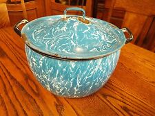 ANTIQUE BLUE & WHITE SWIRL GRANITEWARE ENAMELWARE PAIL STOCK POT W/LID NR