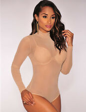 New Nude long sleeve bodysuit leotard teddy lingerie dance wear size  UK 10-12