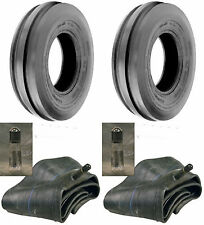 TWO New 4.00-19 Tri-Rib 3 Rib Front Tractor Tires & Tubes 8N 9N Ford Heavy Duty