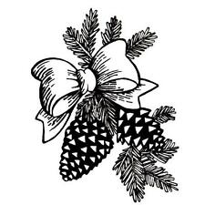 PINE CONES & BOW, Christmas unmounted rubber stamp #7