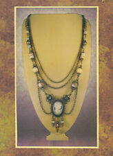 Antique Bronze Chain & Gemstone Cameo Festoon Necklace 7651