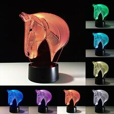 3D Horse Head LED Night Light 7 Color Change Touch Switch Table Desk Lamp Gift