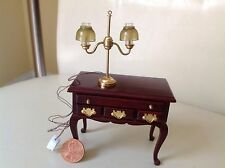 1 dollhouse miniature lamp,12 volt Handcrafted, fine details, olive green shades