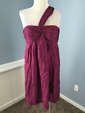 BCBG Maxazria Purple One Shoulder Cocktail Dress M Excellent 100% Silk