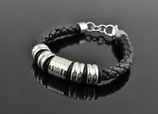 Men's Jewelry Leather Braided Titanium Stainless Steel Bracelet GREAT WALL SIGNS
