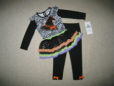 "NEW ""WITCH HAT"" Zebra Tutu Pants Girls Clothes 6m Halloween Fall Baby Outfit"