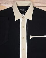 Nat Nast Men's 100% Silk Black Cream Button Front Shirt Size M