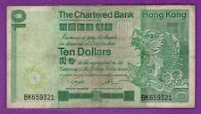1981 Hong Kong The Chartered Bank $10 Banknote 659321
