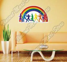 "Running Marathon Rainbow LGBT Gay Wall Sticker Room Interior Decor 25""X20"""