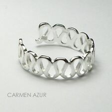 Solid 925 Sterling Silver Toe / Midi Ring Multi Wave Design New Inc Gift Bag