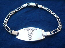 "925 STERLING SILVER MEN'S WOMEN'S MEDICAL ALERT ID BRACELET/ 7"" 8"" free engrave"