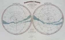 Vieille carte céleste astronomie constellations c1870's par migeon antique Gravure