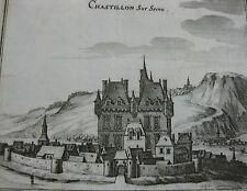 Merian Topographia Gallia Gravure 17ème vue Chatillon sur Seine Bourgogne  Rare