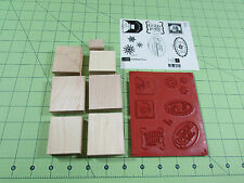 Stampin Up Christmas Punch Stamp Set of 7 Retired Snowman Santa Snowflakes