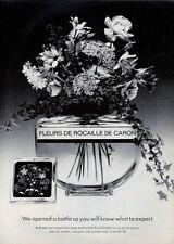 1969 Caron Fleurs de Rocaille Vintage Bottle with Flowers PRINT AD