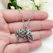 Vintage Tibet silver carved elephant Necklace sided for women