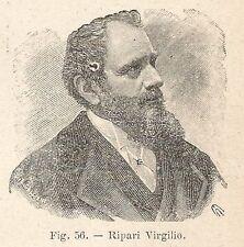 B2270 Virgilio Ripari - Ritratto - Incisione antica del 1930 - Engraving