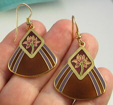 Estate Vintage Rare LAUREL BURCH Enamel Brown Pink Flower Drop Pierced Earrings
