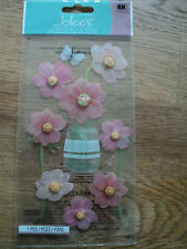 Ek success jolee's boutique rose fleurs dimensionnelles stickers bnip