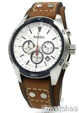 New Fossil Coachman Chronograph Brown Leather Men Watch 45mm CH2986 $125