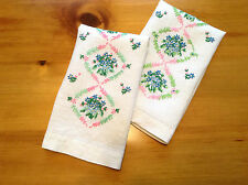 Pair of Vintage White Linen HAND TOWELS Embroidered Flowers Pink Green Blue