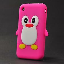 Apple iPhone 3 3g 3gs Silicona Funda móvil funda bolsa cover pingüino rosa