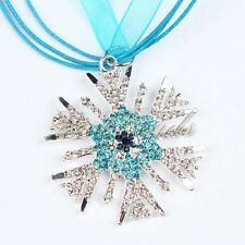 New Ribbon Alloy Snowflake Rhinestone Pendant Christmas Charm Necklace For Girls