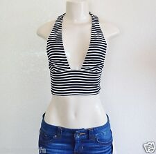 GUESS Women's Monaco Sleeveless Striped Halter Top sz L