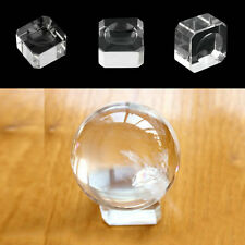 Clear Square Dimple Crystal Ball Display Bases Table Holder Stand Home Gift