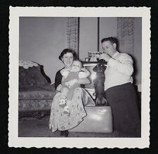 Vintage Antique Photograph Mom, Dad and Baby With Puppy Dog - Retro Television