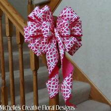 """10"""" W PINK WIRED BOW WHITE DESIGN~WREATHS~EASTER BASKETS~GIFTS~PARTY DECORATIONS"""