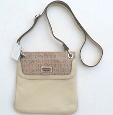 New RRP$345 Oroton Bag STENCIL Across Body Handbag Ivory Leather Taupe Canvas